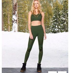ALO high waisted green moto leggings